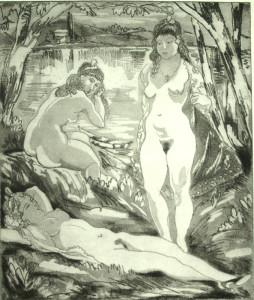 Emil Ganso, Bathers, etching