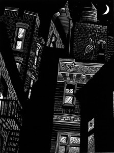 Karen Whitman, Narrow Street, linoleum block print