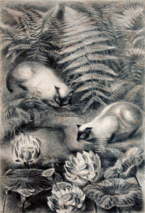 Rosella Hartman, Siamese Cats With Lotus, lithograph